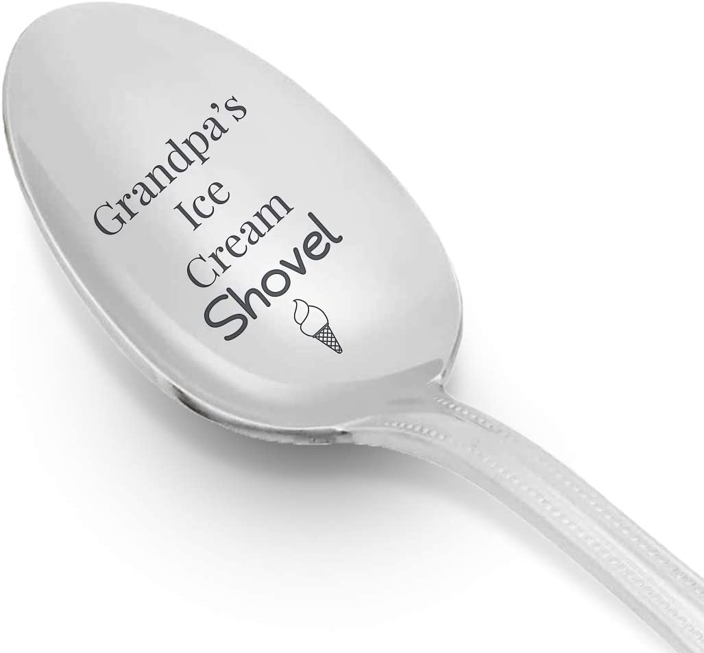 Grandpas Ice Cream Shovel Engraved Spoon Gift | Grandpa Gift from Granddaughter Grandson | Grandparents day Gift Birthday/Gift Christmas Thanksgiving Gift | Stainless Steel - 7 Inch