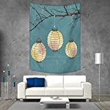smallbeefly Lantern Tapestry Wall Hanging 3D Printing Three Paper Lanterns Hanging on Branches Lighting Fixture Source Lamp Boho Beach Throw Blanket 70W x 84L INCH Teal Pale Yellow