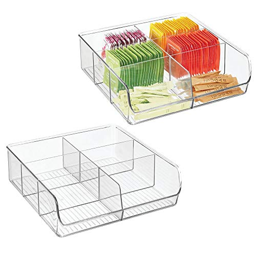 mDesign Plastic Wide Food Storage Organizer Bin Caddy for Kitchen, Pantry, Cabinet, Countertop - Holds Baking Supplies, Spices, Pouches, Dressing Mixes, Tea, Sugar Packets, 6 Sections, 2 Pack - Clear ()