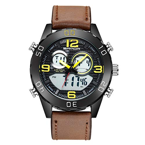 Mens Wrist Watch Black,YEZIJIN Sanda Sports Double Display LED Belt Men's Classic Fashion Electronic Watch for Father Men Student Youth Teens Boyfriend Lover's Birthday ()