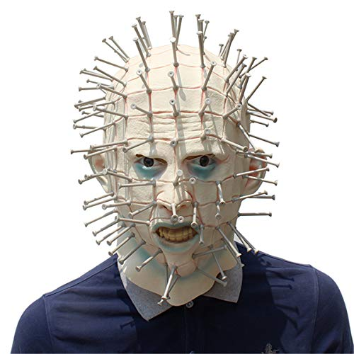 Halloween Novelty Mask Scary Hellraiser Halloween Costume Mask Cosplay Party Prom Mask Creepy Latex Head Mask for Men -
