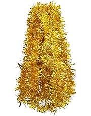 DECORA Gold Tinsel Garland for Christmas Tree Decorations Graduation Wedding Birthday Party Supplies 33 FEET
