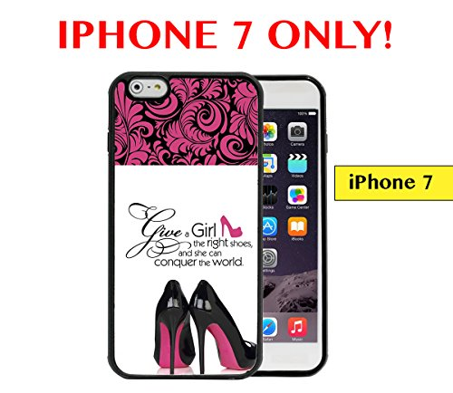 IPHONE 7 - Give A Girl The Right Shoes Quote Pink Black High Heel Shoes Pink Black Damask APPLE IPHONE 7 Rubber TPU Silicone Phone Case