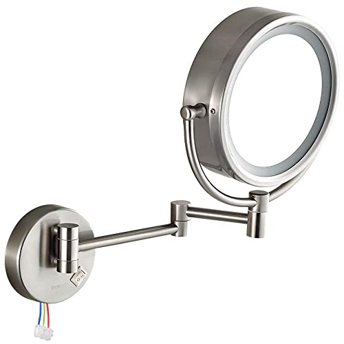 GURUN 8.5 Inch LED Lighted Wall Mount Hardwired Makeup Mirror with 10x Magnification,Direct Wire,Nickel Finish M1809D 8.5in, Nickel hardwire