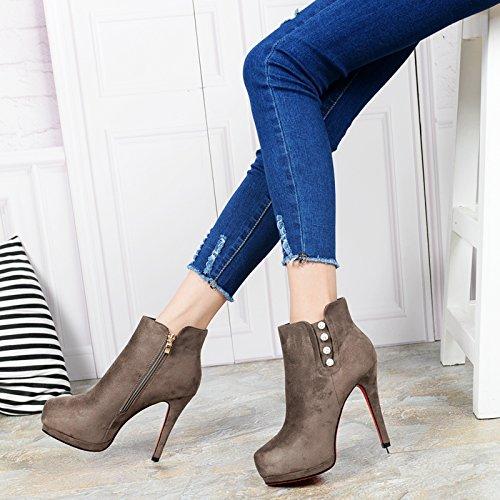 KHSKX-Korean Fashion Diamond Bien Con Las Botas Las Botas Impermeables Zapatos De Tacon Zapatos De Mujer Botas De InviernoTreinta Y CuatroBrown