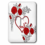 3dRose Doreen Erhardt Wedding Collection - Red Heart and Roses 40th Ruby Anniversary for Wedding or Business - Light Switch Covers - single toggle switch (lsp_264586_1)