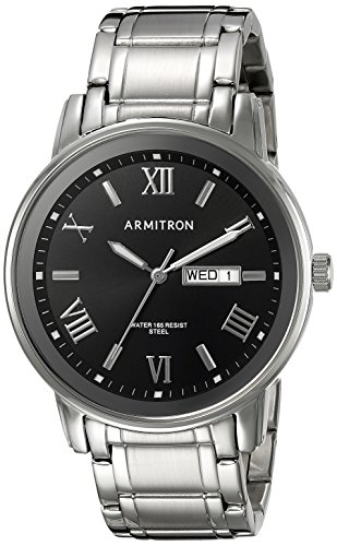 Armitron Men's 20/4935BKSV Day/Date Function Silver-Tone Bracelet Watch