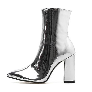 702cb33cdafe ❀❀LHWY Bottes talons Femmes Cuir verni brillant à talon épais bottes les bottes  femmes hiver les bottes femme  Amazon.fr  Vêtements et accessoires