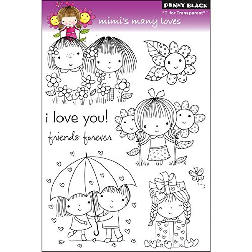 Love Mounted Rubber Stamp - Penny Black 30-091 Clear Stamp, Mimi's Many Loves
