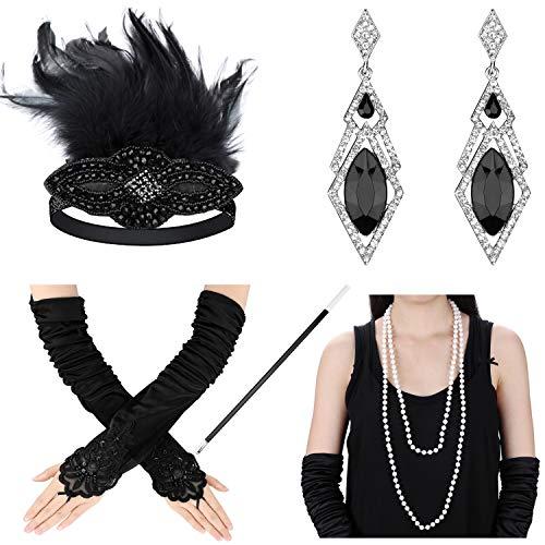 Xflyee 1920s Accessories Set Flapper Gatsby Costume Women Headband Gloves Necklace Earrings Cigarette Holder