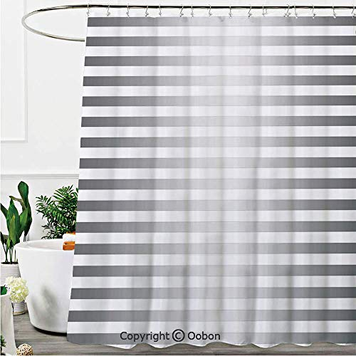 Oobon Shower Curtains, Horizontal Zebra Like Striped Motif with Classical Minimalist Effects Display, Fabric Bathroom Decor Set with Hooks, 72 x 78 Inches