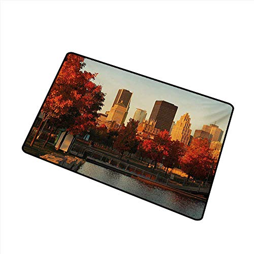 80598d95a75d36 Pet Door mat City Old Port of Montreal Early in The Morning Scenic Autumn  Trees Buildings Canada W30 xL39 Anti-Fading