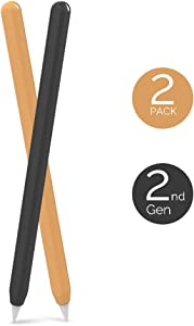 AhaStyle Ultra Thin Case Silicone Skin Cover Compatible with Apple Pencil 2nd Generation, iPad Pro 11 12.9 inch-2 Pack (Black & Orange)