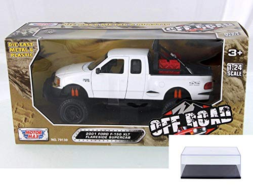 Motor Max Diecast Car & Display Case Package - 2001 Ford F-150 XLT Flareside Supercab, White 79132WH - 1/24 Scale Diecast Model Toy Car w/Display Case
