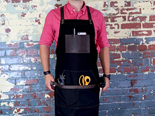 Black Work Apron in Non-Waxed Canvas with Cross Straps Adjustable for Most Waist Sizes for Men Women Vintage Heavy Duty Apron for Butcher, Barber, Metal Working by OleksynPrannyk (Image #3)