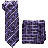 Pierre Cardin Men's Shaded Grid Tie and Pocket Square, black/purple, One Size