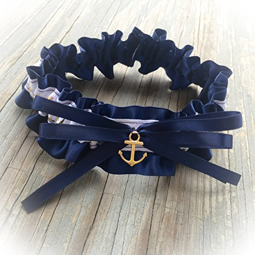 Nautical Navy Blue & White Gold Anchor Nautical Satin Wedding Garter With Charm Bridal Keepsake Or Garter Set
