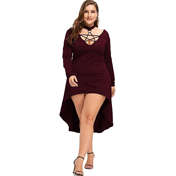 8582919bfcf DEZZAL Women s Plus Size Long Sleeve Mock Neck High Low Hem Lace up Midi  Dress (