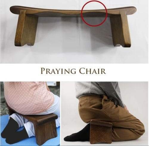 Wood Knee Chair ~ Wood prayer chair knee meditation bench portable