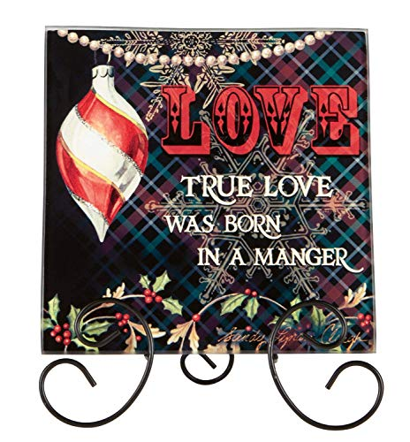 heartfelt Glass Holiday Plaque with Easel Stand (Love)