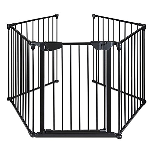 Lovinland Baby Gate with Auto Close Door Pet Gate 5 Panel Metal Gate Fireplace Fence Fire Gate for Toddler Pet Dog Cat Review