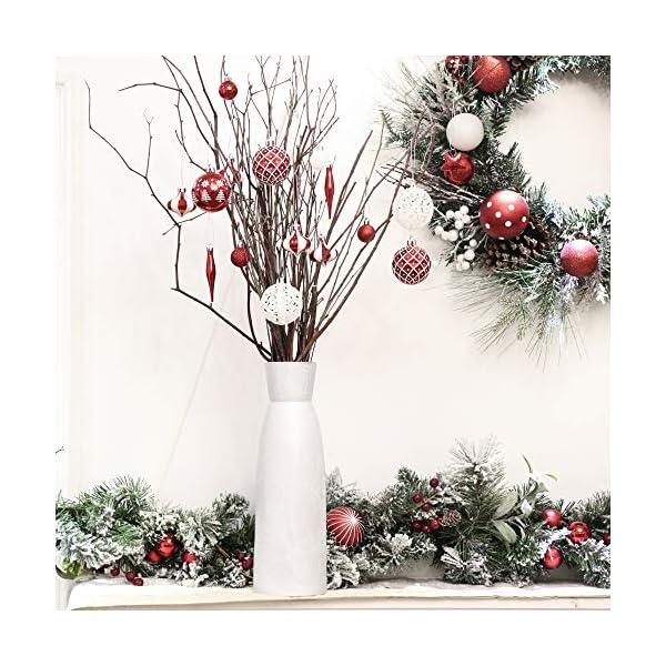 Victor's Workshop 70 Pezzi di Palline di Natale, 3-6 cm Tradizionali Ornamenti di Palle di Natale Infrangibili Rossi e Bianchi per la Decorazione Dell'Albero di Natale 7 spesavip