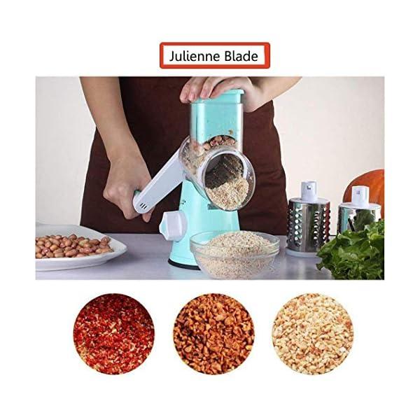 Azornic Mandolina affettatrice per verdure, frutta, verdura, formaggio, formata da grattugia rotante con 3 lame in… 2
