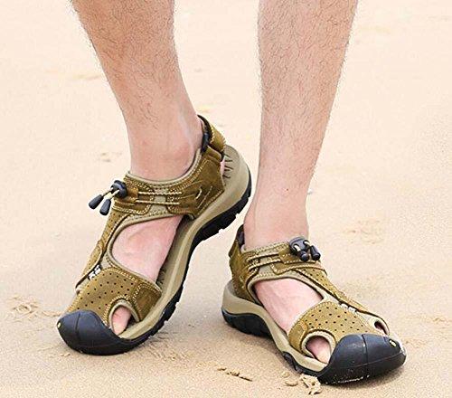 Onfly Hombres Chicos Dedo del pie cerrado Cuero Casual Sandalias Zapatillas Antideslizante Respirable Para caminar Al aire libre Sandalias Zapatos de agua Zapatillas de deporte ocasionales Playa Zapat Khaki