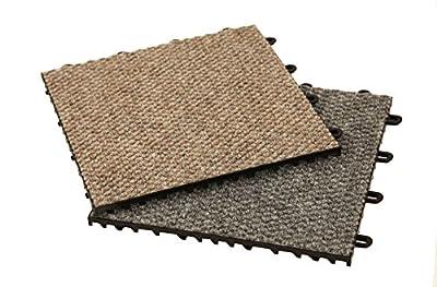"IncStores Carpet-Loc Modular Carpet Top Flooring 12"" x 12"" Snap Together Floor Tiles"