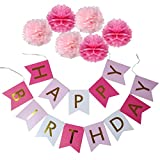 Toys : XADP Happy Birthday Banner with Set of 6 Paper Pom Poms Flowers Birthday Party Decorations