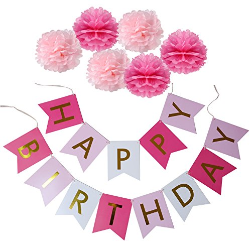 (XADP Happy Birthday Banner with Set of 6 Paper Pom Poms Flowers Birthday Party)