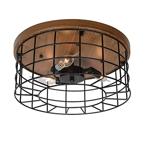 Baiwaiz Round Rustic Flush Mount Light, Metal Industrial Ceiling Lighting Black Wire Cage Light 3 Lights Edison E12 ()