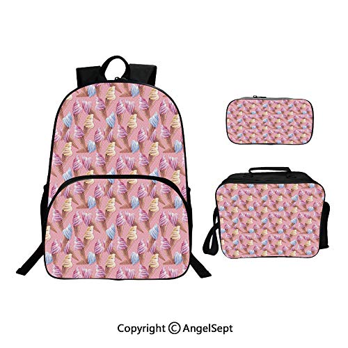 Fashion Casual School Student Backpack,Dessert Icy Cones in Watercolor Summer Season Image Light Pink and Blue d Brown,Lightweight Daypack With Lunch Bag And Pencil Case For Girls