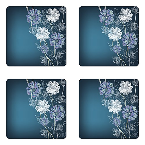 Ambesonne Art Coaster Set of Four, Hand Drawn Cherry Blossoms Fantasy Bridal Garden Anniversary Theme, Square Hardboard Gloss Coasters for Drinks, Petrol Blue Lavander White