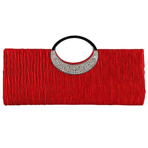 TOPCHANCES Women's Evening Party Rhinestone Satin Pleated Evening Wedding Party Clutch Purse Wallet Handbag (Red)