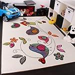 Kinder Teppich Vogel Design Creme Bla...