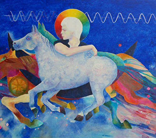 White Horse Painting Surrealist Original for Living Room Bedroom Wall Unique Genuine Hand Painted Oil Artwork Abstract Romantic Magic Fine Art White Blue OOAK from SmartPolonia