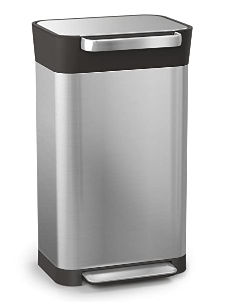 Joseph Joseph 30030 Intelligent Waste Titan Trash Can Compactor, 8 gallon /  30 liter, Stainless Steel