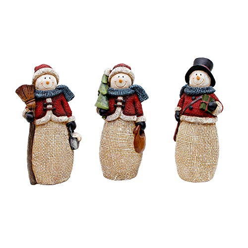 (Christmas Snowman Figurines, Xmas Holiday Winter Wonderland Decoration Home Indoor Table Ornament Party Supplies Stone Resin Figurine (B-M) )