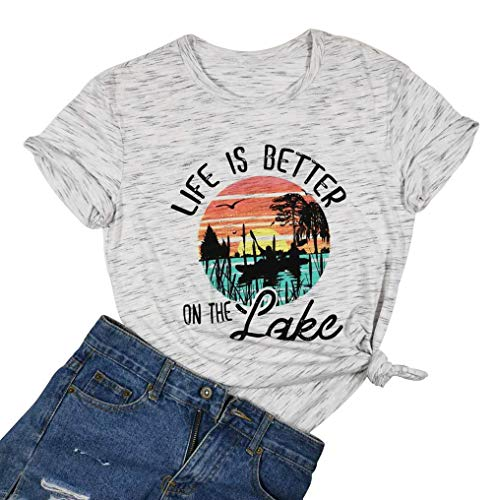 Life is Better in Flip Flops Shirt Letter Print O-Neck Casual T-Shirt Tee Tops Green (Large, White)