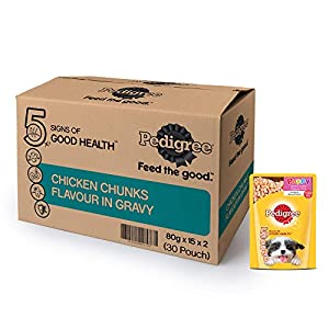 Pedigree Puppy Wet Dog Food, Chicken Chunks in Gravy, 30 Pouches (30 x 80g)