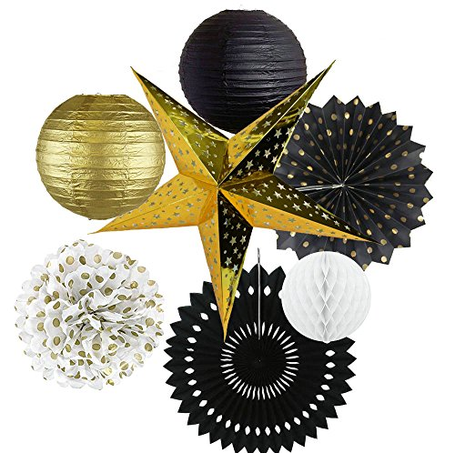 Happy NewYear Party Decorations Black White Gold Tissue Paper Pom Pom Gold Star Paper Lantern Paper Fans Honeycomb Balls for New Year's Eve Party /Birthday Decorations/Bridal Shower Decorations ()
