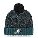 OTS NFL Philadelphia Eagles Women's Brilyn Cuff Knit Cap with Pom, Pacific Green, Women's