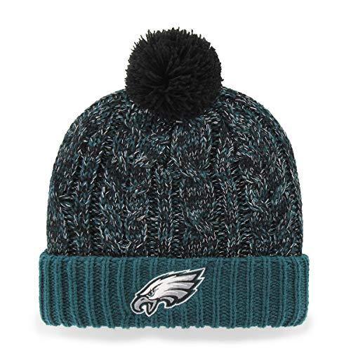 OTS NFL Philadelphia Eagles Women's Brilyn Cuff Knit Cap with Pom, Pacific Green, Women's
