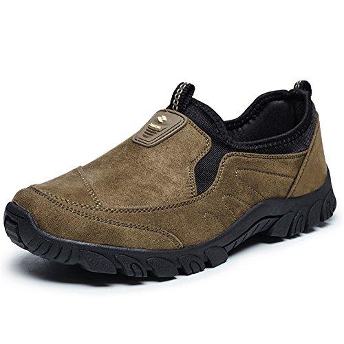 Die zufällige leichte Wildleder-im Freien rutschfeste ältere gehende Turnschuh-Schuhe der Scurtain-Männer Braun-1