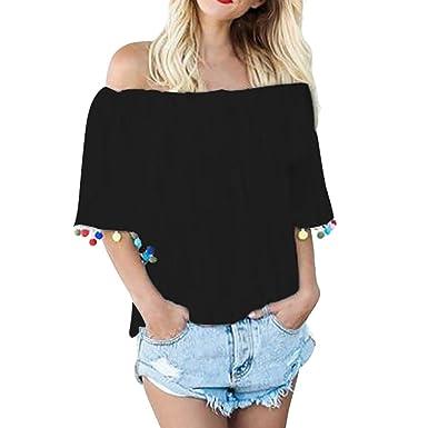 6f2121d42ea LILICAT Damen Sommer Schulter Bluse Schulterfrei Feierliche Chic Top Frauen  Oberteil Mode Shirt T-shirt