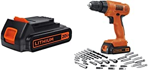 BLACK+DECKER LBXR20 20-Volt MAX Extended Run Time Lithium-Ion Cordless To with BLACK+DECKER LD120VA 20-Volt Max Lithium Drill/Driver with 30 Accessories