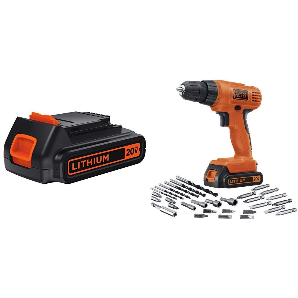 BLACK+DECKER LBXR20 20-Volt MAX Extended Run Time Lithium-Ion Cordless To with BLACK+DECKER LD120VA 20-Volt Max Lithium Drill/Driver with 30 Accessories                BLACK+DECKER LBXR20 20-Volt MAX Extended Run Time Lithium-Ion Cordless To with BLACK+DECKER LDX120PK 20V MAX Cordless Drill and Battery Power Project Kit