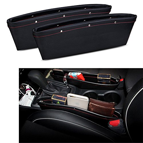 2 Set PU Leather Car Pocket Organizer Seat Console Gap Filler Side - ( Black ) by TOCGAMT