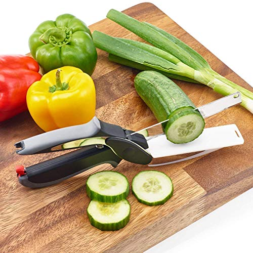 TFPW 2-in-1 18/10 Steel Smart Clever Cutter Kitchen Knife Food Chopper with Locking Hinge; with Spring Action; Stainless Steel Blade Vegetable Cutters Price & Reviews